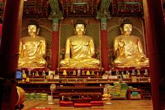 Golden buddha in jogyesa temple (seoul) Stock Photos