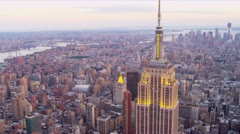 Aerial Empire State Building Manhattan, New York Stock Footage