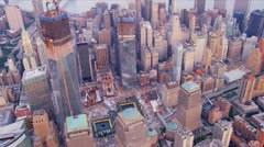 Aerial city view One World Trade Centre, New York, US Stock Footage