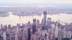 Aerial One World Trade Centre, Hudson river, New Jersey, New York, USA, Stock Footage