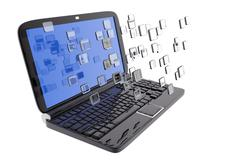 Laptop and digital files Stock Illustration