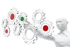 Person selecting gear icons Stock Illustration