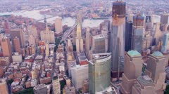 Aerial view Manhattan Freedom Tower, Hudson river, North America, Stock Footage