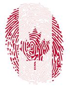 Thumbprint canada flag colors Stock Illustration