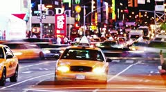 Timelapse of Times Square traffic at night, on May 22, 2012 in New York Stock Footage