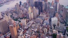 Aerial city skyscraper view Downtown Manhattan Financial district, 1 WTC, East   Stock Footage