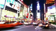 Stock Video Footage of NEW YORK CITY - MAY 21 2012: Timelapse of Times Square traffic at night