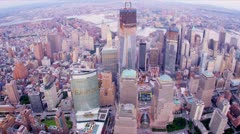 Aerial view Freedom Tower, Brooklyn and Manhattan Bridges, Financial District, N Stock Footage