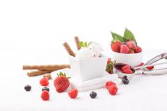 ice cream with berries - stock photo