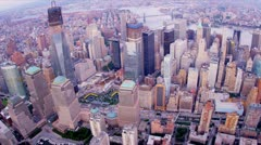 Aerial view One World Trade Centre, New York, USA Stock Footage