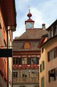 Painted facade of a historic building in the swiss city stein an rhein. Stock Photos