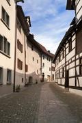Stein an rhein. the street of the ancient swiss town. europe Stock Photos