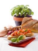 bruschetta with ingredients - stock photo