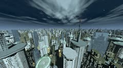 Stock Video Footage of future city fly over