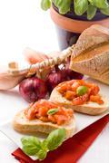 bruschetta with ingredients - stock photo