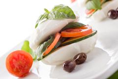 stuffed mozzarella sandwich - stock photo