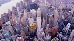Aerial view city skyscrapers  Manhattan, New York  Stock Footage