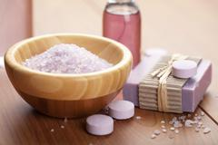 Herbal salt and soap. spa and body care background Stock Photos