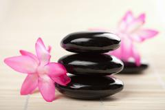 spa stones and pink flower - stock photo