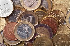 euro coins background - stock photo