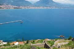 view of the turkish city and port of alanya - stock photo