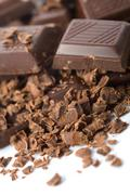 Heap of broken chocolate isolated Stock Photos