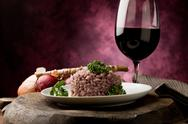 Stock Photo of risotto with red wine