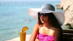 Summer Teen Girl With Elegant Hat Stock Footage