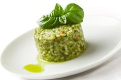 risotto with basil - stock photo
