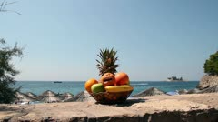 Fresh Fruit Basket Against Seaside Stock Footage