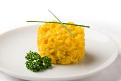 risoto with saffron - stock photo
