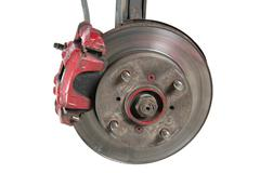 Old brake pads and disk (isolated) Stock Photos