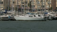Modern Yacht Harbor in mediterranean Southern France - stock footage
