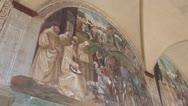 Erotic frescos in monastery in Tuscany, Italy Stock Footage