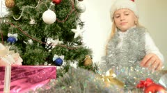 Child Decorating Christmas Tree Stock Footage
