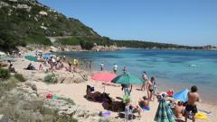 People swimming, beach, sea, La Maddalena island, Sardegna, Italia Stock Footage