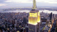 Stock Video Footage of Aerial illuminated view Empire State Building, Observation Deck, New York, USA,