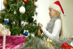 Decorating Christmas Tree Stock Footage