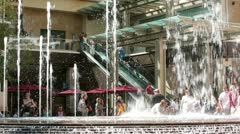 Shopping center escalator water fountain HD 2997 Stock Footage