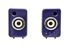 Two computer speakers Stock Photos