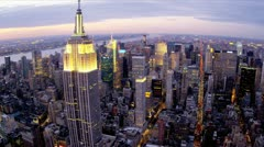 Aerial illuminated city view Empire State Building, Manhattan, New York, USA Stock Footage