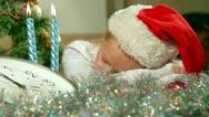 Christmas Child Sleeping Stock Footage