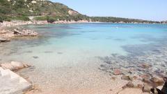 Beach, sea and coast in La Maddalena island, Sardinia, Italy - stock footage