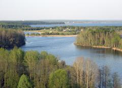 the island in the seliger lake - stock photo