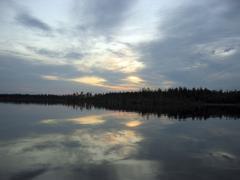quiet karelian sunset - stock photo