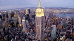 Aerial view Empire State Building, East and West side Manhattan, Hudson and East Stock Footage
