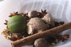 Close-up of ayurvedic ingrediants in a smoky white glass  bowl Stock Photos