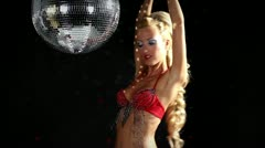 Gogo dancing and posing discoball Stock Footage