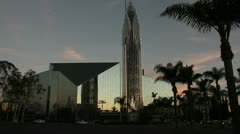 Crystal Cathedral at dusk Stock Footage