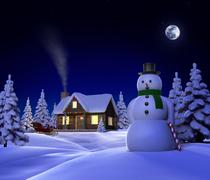 christmas snow cabin - stock illustration